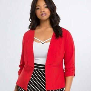 TORRID Ruched Sleeve Red Blazer